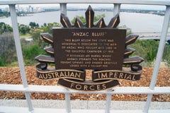 Πινακίδα ANZAC Bluff Στοκ φωτογραφία με δικαίωμα ελεύθερης χρήσης