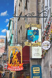 Πινακίδες στο αβαείο ναυπηγείων Mont Saint-Michel. Στοκ Εικόνες