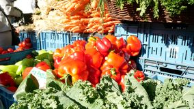 Πιπέρια και λαχανικά στην αγορά απόθεμα βίντεο