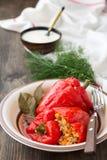Πιπέρια που γεμίζονται με το ρύζι και τα λαχανικά Στοκ Εικόνα