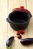 Πιπέρι και τηγάνι μελιτζάνας Στοκ φωτογραφία με δικαίωμα ελεύθερης χρήσης