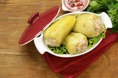 Πιπέρι που γεμίζεται γλυκό με το κρέας Στοκ Εικόνες