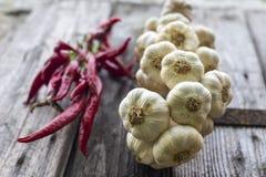 Πιπέρι σκόρδου και τσίλι Στοκ Φωτογραφίες