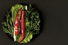 Πιπέρι τσίλι με τα πράσινα σε ένα πιάτο σε ένα μαύρο υπόβαθρο Στοκ φωτογραφίες με δικαίωμα ελεύθερης χρήσης