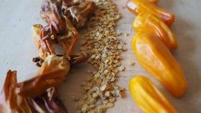 Πιπέρι τσίλι, φρέσκος, ξηρό, σπόροι Στοκ Φωτογραφίες