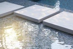 Πισίνα με τα μπλε κεραμίδια μωσαϊκών Στοκ Φωτογραφίες