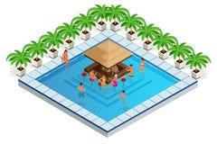 Πισίνα με τη Isometric διανυσματική απεικόνιση φραγμών οι νέοι κολυμπούν στη λίμνη, χαλαρώνουν και πίνουν τα κοκτέιλ απεικόνιση αποθεμάτων