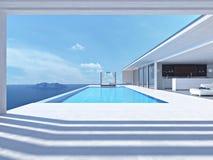 Πισίνα πολυτέλειας τρισδιάστατη απόδοση στοκ εικόνα με δικαίωμα ελεύθερης χρήσης