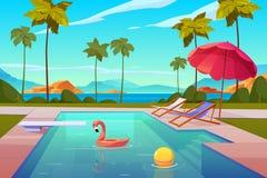 Πισίνα στο ξενοδοχείο ή το θέρετρο υπαίθρια, καλοκαίρι διανυσματική απεικόνιση