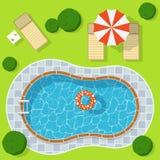 Πισίνα στο πράσινο λιβάδι με το σαλόνι ομπρελών και μονίππων Στοκ φωτογραφία με δικαίωμα ελεύθερης χρήσης