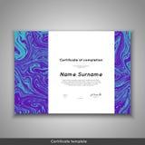 Πιστοποιητικό της ολοκλήρωσης - εκτίμηση, επίτευγμα, βαθμολόγηση, δίπλωμα ή βραβείο με το μαρμάρινο υπόβαθρο σύστασης διανυσματική απεικόνιση