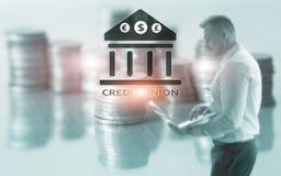 Πιστωτική ένωση Οικονομικές συνεταιριστικές τραπεζικές υπηρεσίες Αφηρημένο υπόβαθρο χρηματοδότησης στοκ εικόνα