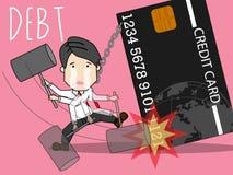 Πιστωτική κάρτα και χτύπημα του ατόμου διανυσματική απεικόνιση