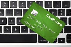 Πιστωτική κάρτα - σε απευθείας σύνδεση έννοια αγορών Στοκ Εικόνες