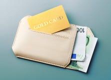 Πιστωτική χρυσή κάρτα και ευρο- πορτοφόλι χρημάτων Στοκ εικόνα με δικαίωμα ελεύθερης χρήσης