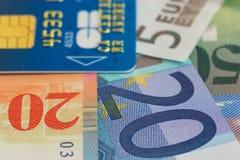 πιστωτικό ευρώ καρτών τραπεζογραμματίων Στοκ εικόνα με δικαίωμα ελεύθερης χρήσης