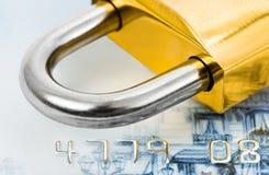 πιστωτικό κλείδωμα καρτών στοκ εικόνα