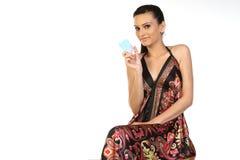 πιστωτικό κορίτσι καρτών ε& Στοκ Φωτογραφία