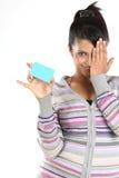 πιστωτικό κορίτσι καρτών ε& Στοκ εικόνα με δικαίωμα ελεύθερης χρήσης