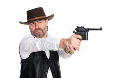 πιστόλι ατόμων που καλύπτονται stetson Στοκ Φωτογραφίες
