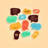 Πιό κοινές χρησιμοποιημένες χαρακτηριστικές γειά σου φράσεις στο λεκτικό επίπεδο ύφος Bubb Στοκ Φωτογραφίες