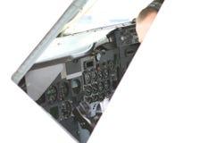 Πιλοτήριο αεροσκαφών που απομονώνεται στο λευκό με το διάστημα αντιγράφων Στοκ Εικόνες