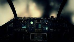 Πιλοτήριο διαστημοπλοίων σε πειραματική άποψη που πετά μέσω των σύννεφων σε έναν θυελλώδη καιρό απεικόνιση αποθεμάτων