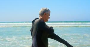 Πλάγια όψη του δραστήριου ανώτερου καυκάσιου αρσενικού surfer που φορά το υγρό κοστούμι στην παραλία 4k φιλμ μικρού μήκους