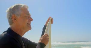 Πλάγια όψη του δραστήριου ανώτερου καυκάσιου αρσενικού surfer που στέκεται με την ιστιοσανίδα στην παραλία 4k απόθεμα βίντεο