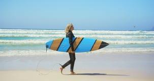 Πλάγια όψη του δραστήριου ανώτερου καυκάσιου θηλυκού surfer που περπατά στην παραλία στην ηλιοφάνεια 4k φιλμ μικρού μήκους