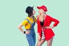 Πλάγια όψη του ζεύγους των όμορφων καλύτερων φίλων stilysh hipster στα μοντέρνα ενδύματα που στέκονται, που θέτουν και που στέλνο στοκ φωτογραφίες με δικαίωμα ελεύθερης χρήσης