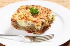 Πλάγια όψη Homemad lasagne Στοκ Εικόνες