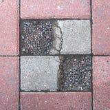 Πλάκες επίστρωσης με τις συμμετρικές κοιλότητες, που γεμίζουν με τις μικρές πέτρες το γαλαζωπό και κοκκινωπό χρώμα στοκ φωτογραφία με δικαίωμα ελεύθερης χρήσης