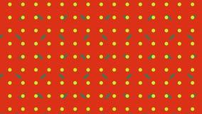 Πλέγμα κίτρινων κουκκίδων και πράσινων γραμμών που κινούνται σε κόκκιΠδιανυσματική απεικόνιση
