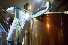 Πλένοντας δεξαμενή μετά από τη ζύμωση μπύρας Στοκ φωτογραφία με δικαίωμα ελεύθερης χρήσης