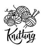` Πλέξιμο του γράφοντας λογότυπου ` για το κατάστημα νημάτων Στοκ Εικόνα