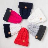 Πλέξτε τα χειμερινά καπέλα Στοκ Εικόνα
