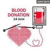 πλέξτε την καρδιά δωρεάς αίματος Στοκ Εικόνες