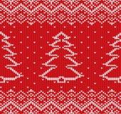 Πλέξτε το γεωμετρικό σχέδιο διακοσμήσεων Χριστουγέννων με fir-trees Στοκ φωτογραφία με δικαίωμα ελεύθερης χρήσης