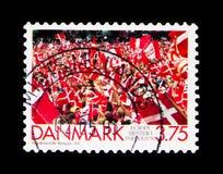 Πλήθος εορτασμού - Δανία - ευρωπαϊκοί πρωτοπόροι ποδοσφαίρου, serie, circa 1992 στοκ εικόνες με δικαίωμα ελεύθερης χρήσης
