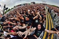 Πλήθος σε μια συναυλία Download στο φεστιβάλ μουσικής βαρύ μετάλλου Στοκ Εικόνα