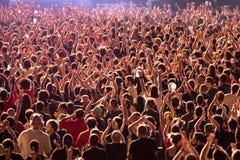 Πλήθος σε μια συναυλία Download στο φεστιβάλ μουσικής βαρύ μετάλλου Στοκ Φωτογραφία