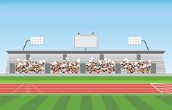Πλήθος στην εξέδρα επισήμων σταδίων στον ενθαρρυντικό αθλητισμό απεικόνιση αποθεμάτων