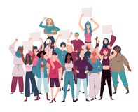 Πλήθος του θηλυκού επιδεικνυόντων που διαμαρτύρεται για την ισότητα και την ενδυνάμωση γυναικών απεικόνιση αποθεμάτων