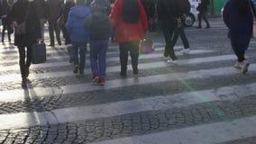 Πλήθος των ανθρώπων που διασχίζουν το δρόμο στον πεζό, συμμόρφωση κανόνων κυκλοφορίας, Παρίσι απόθεμα βίντεο