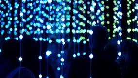 Πλήθος των ανθρώπων που θαυμάζουν τις λάμπες φωτός των οδηγήσεων φιλμ μικρού μήκους