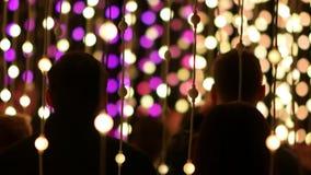 Πλήθος των ανθρώπων που θαυμάζουν τις λάμπες φωτός των οδηγήσεων απόθεμα βίντεο