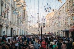 Πλήθος των ανθρώπων στην οδό της Μόσχας στοκ εικόνα με δικαίωμα ελεύθερης χρήσης