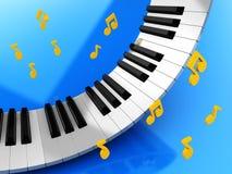 Πλήκτρα και σημειώσεις μουσικής απεικόνιση αποθεμάτων