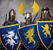 πλήρεις ιππότες ομάδας τεθωρακισμένων μεσαιωνικοί Στοκ εικόνα με δικαίωμα ελεύθερης χρήσης